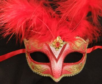 Red & Gold Feathered Petite Mask (2)